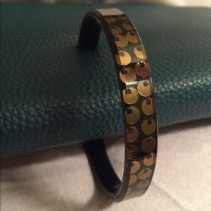 Gold Sequin in Black Thicky Bracelet